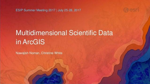 Multidimensional Scientific Data in ArcGIS Nawajish Noman, Christine White ESIP Summer Meeting 2017 | July 25-28, 2017