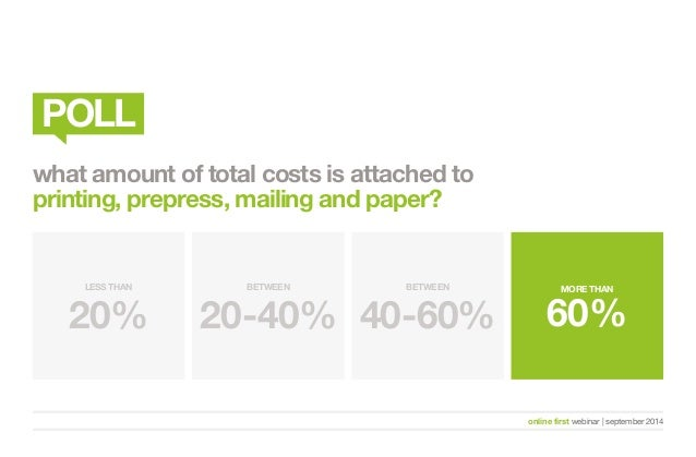 MORE THAN  60%  online first webinar   september 2014  POLL  what amount of total costs is attached to  printing, prepress...