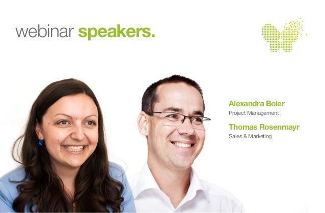online reporting evolved  Alexandra Boier  Project Management  Thomas Rosenmayr  Sales & Marketing  webinar speakers.
