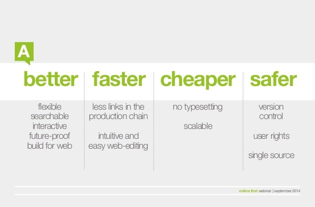 better faster cheaper safer  flexible  searchable  interactive  future-proof  build for web  less links in the  production...
