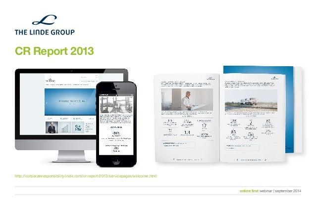 online first webinar   september 2014  CR Report 2013  http://corporateresponsibility.linde.com/cr-report/2013/servicepage...