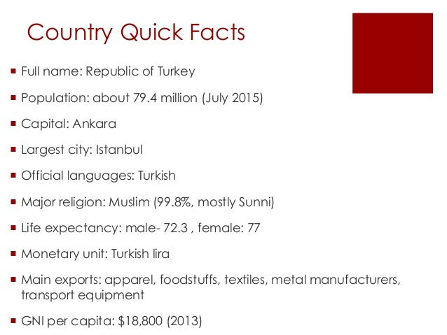 country fact file turkey Learn some interesting information about turkey while enjoying a range of fun facts and trivia that's perfect for kids read about its population, foods, highest mountain, major cities, climate, economy, favorite sport and much more the official name of turkey is the republic of turkey.