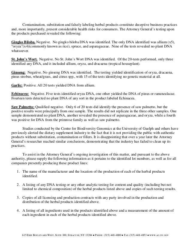 New york attorney general cease and desist letter herbal products gov 2 spiritdancerdesigns Gallery