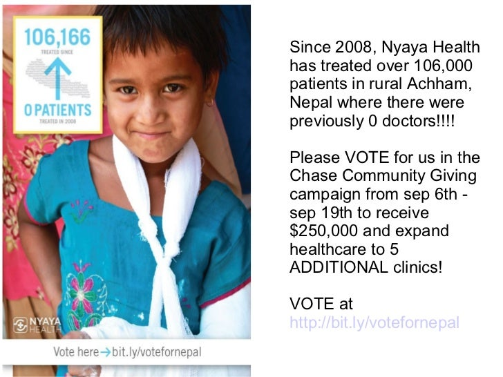 Since 2008, Nyaya Healthhas treated over 106,000patients in rural Achham,Nepal where there werepreviously 0 doctors!!!!Ple...