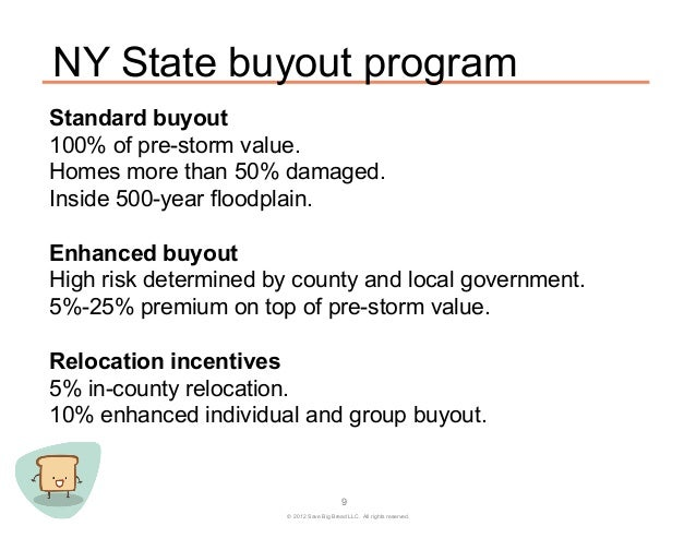 NY State buyout programStandard buyout100% of pre-storm value.Homes more than 50% damaged.Inside 500-year floodplain.Enhan...