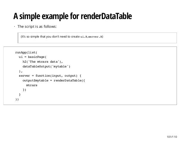 A simple example for renderDataTable The script is as follows: (It's so simple that you don't need to create ui.R,server.R...