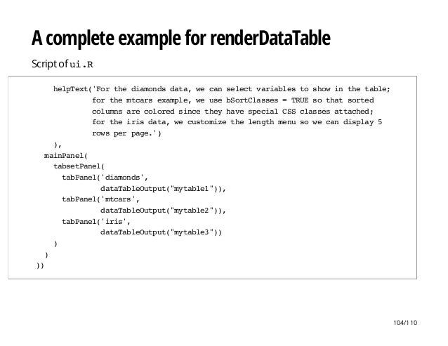 A complete example for renderDataTable Script of ui.R helpText('Forthediamondsdata,wecanselectvariablestoshowinthetable; f...