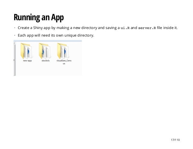Running an App Create a Shiny app by making a new directory and saving a ui.Rand server.Rfile inside it. Each app will nee...