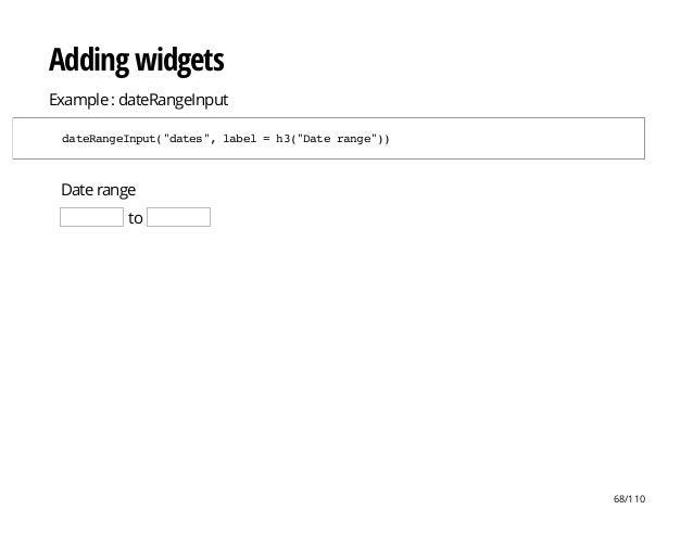 """Date range to Adding widgets Example : dateRangeInput dateRangeInput(""""dates"""",label=h3(""""Daterange"""")) 68/110"""