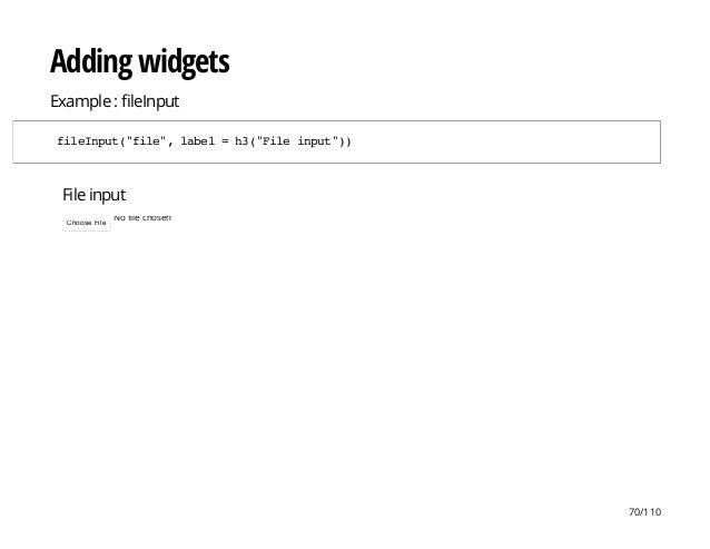 "File input No file chosenChoose File Adding widgets Example : leInput fileInput(""file"",label=h3(""Fileinput"")) 70/110"