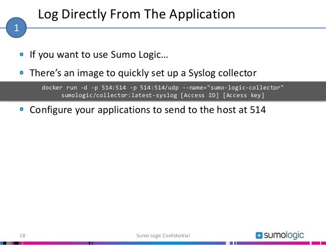 If you want to use Sumo Logic… There's an image to quickly set up a Syslog collector Configure your applications to send t...