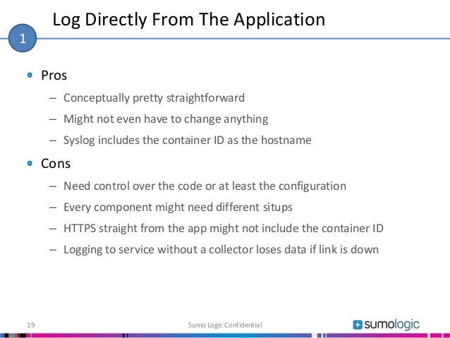 Pros – Conceptually pretty straightforward – Might not even have to change anything – Syslog includes the container ID as ...