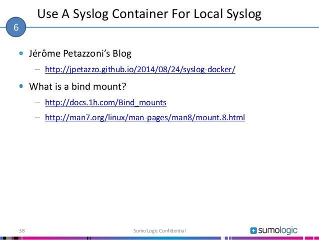 Jérôme Petazzoni's Blog – http://jpetazzo.github.io/2014/08/24/syslog-docker/ What is a bind mount? – http://docs.1h.com/B...