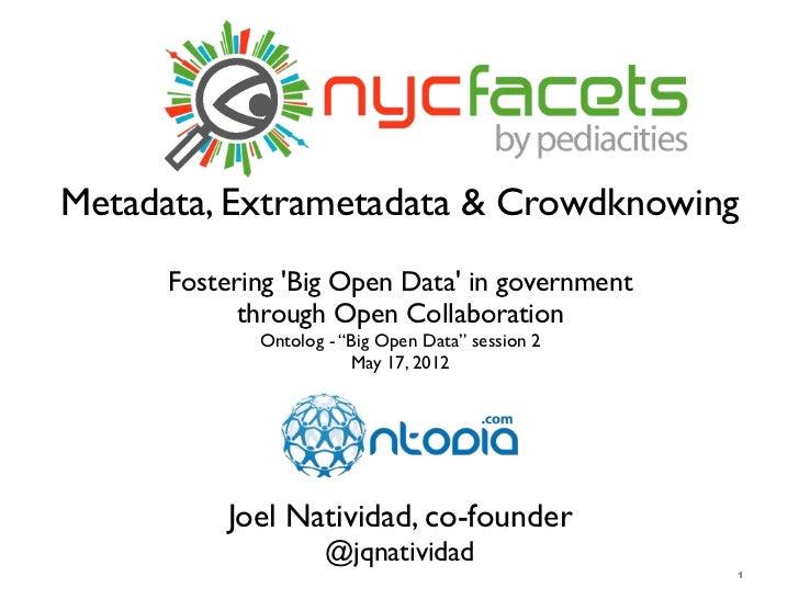 Metadata, Extrametadata & Crowdknowing      Fostering Big Open Data in government            through Open Collaboration   ...