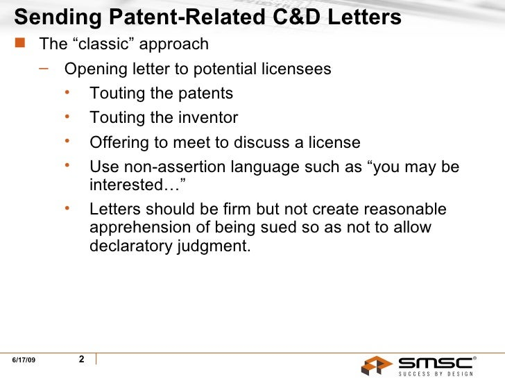 sending receiving patent related cease desist letters