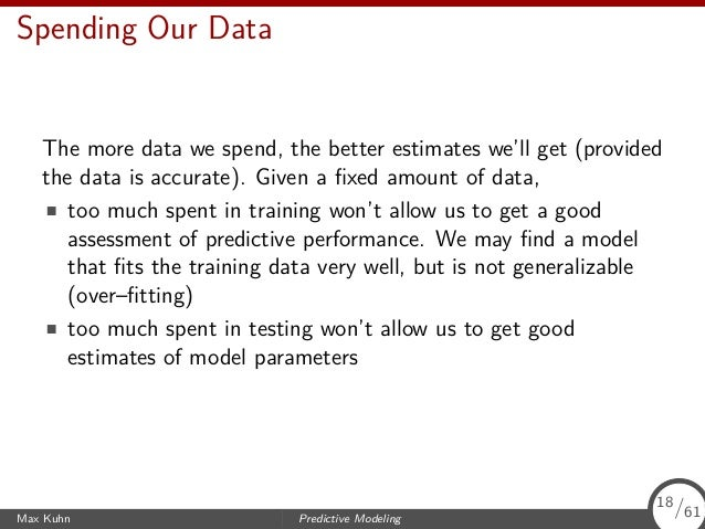 Spending Our Data The more data we spend, the better estimates we'll get (provided the data is accurate). Given a fixed amo...