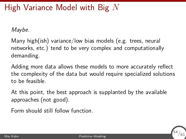 Model Variance and Bias Predictor Outcome −1.5 −1.0 −0.5 0.0 0.5 1.0 1.5 2 4 6 8 10 Max Kuhn Predictive Modeling 55/61 55/...