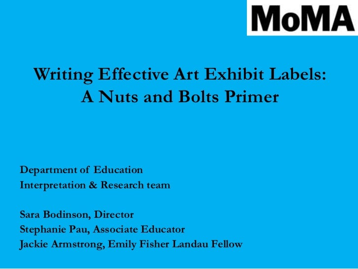 Writing Effective Interpretive Labels for Art Exhibitions: A Nuts and…