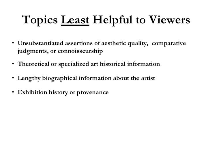 writing effective interpretive labels for art exhibitions a nuts and  topics