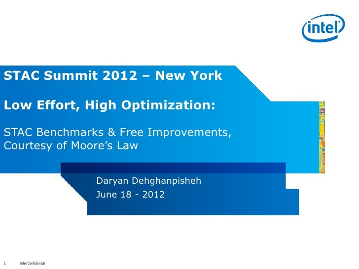 STAC Summit 2012 – New YorkLow Effort, High Optimization:STAC Benchmarks & Free Improvements,Courtesy of Moore's Law      ...