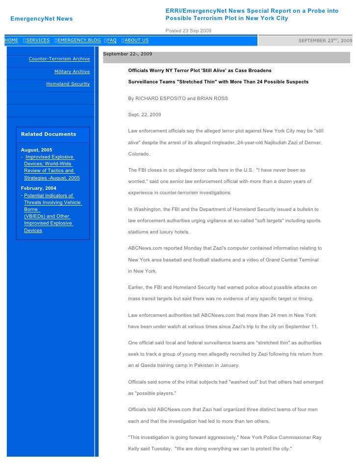 ERRI/EmergencyNet News Special Report on a Probe into  EmergencyNet News                                                 P...