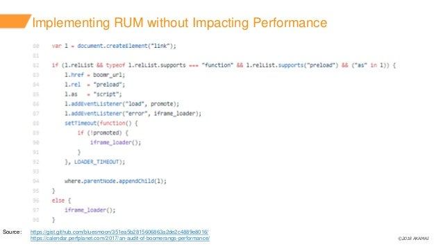 ©2018 AKAMAI Implementing RUM without Impacting Performance Source: https://gist.github.com/bluesmoon/351ea5b2815606863a2d...