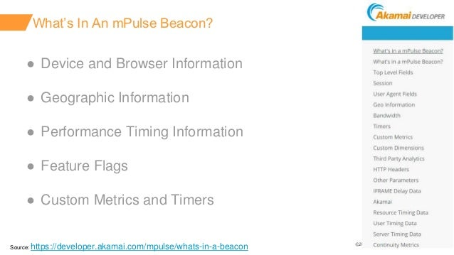 ©2018 AKAMAI   FASTER FORWARDTM What's In An mPulse Beacon? ● Device and Browser Information ● Geographic Information ● Pe...