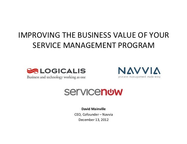 IMPROVING THE BUSINESS VALUE OF YOUR    SERVICE MANAGEMENT PROGRAM                         David Mainv...
