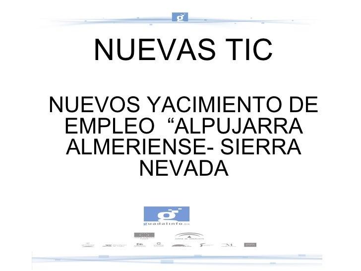 """NUEVAS TIC NUEVOS YACIMIENTO DE EMPLEO  """"ALPUJARRA ALMERIENSE- SIERRA NEVADA"""