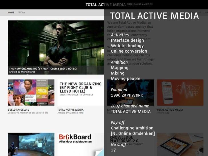TOTAL ACTIVE MEDIA                      Activities                      Interface design                      Web technolo...