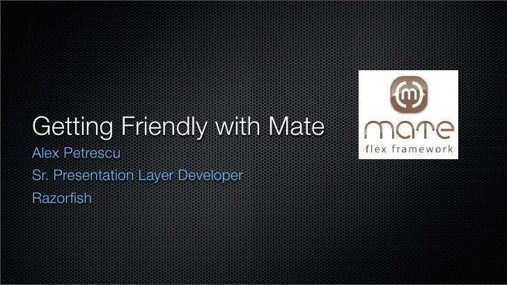 Getting Friendly with Mate Alex Petrescu Sr. Presentation Layer Developer Razorfish