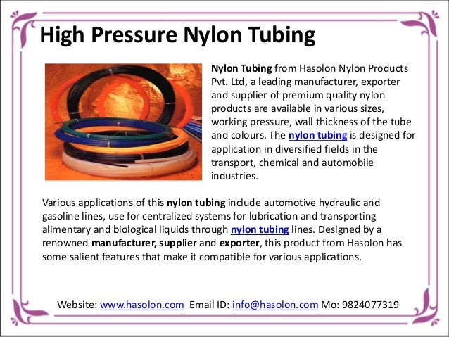 Hasolon Nylon Tubing Select