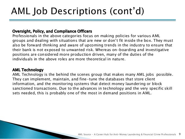 Finding work in aml for attorneys - Compliance officer bank job description ...
