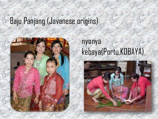baba and nyonya culture Les baba-nyonya 峇峇娘惹),  leur particularité identitaire a tendance à s'estomper lentement, la jeune génération adoptant une culture chinoise plus.
