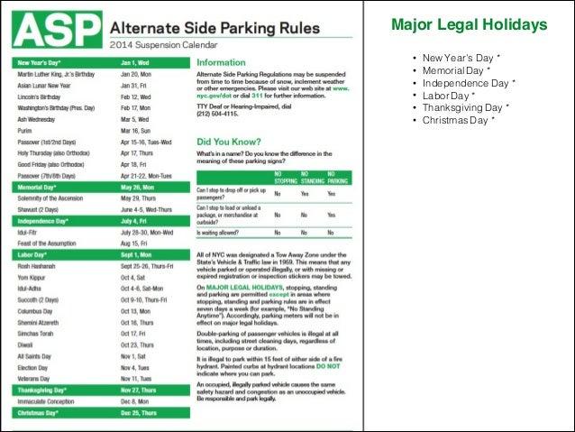 Alternate Side Parking Calendar Nyc 2022.2014 Alternate Side Parking Calendar