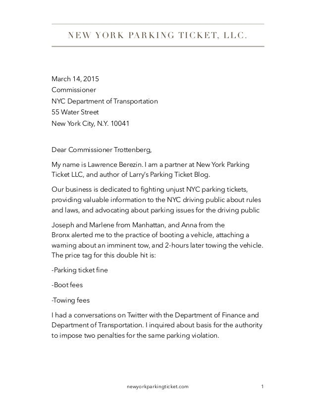 March 14 2015 Commissioner NYC Department Of Transportation 55 Water Street New York City