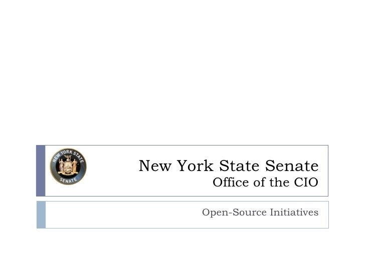 New York State Senate Office of the CIO Open-Source Initiatives