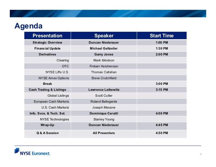 Agenda     Presentation                    Speaker           Start Time     Strategic Overview           Duncan Niederauer...
