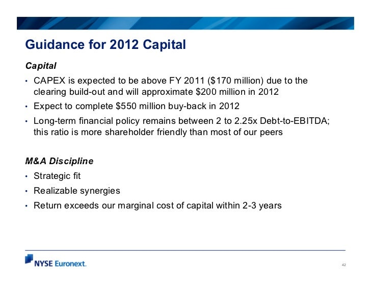 Guidance for 2012 CapitalCapital•   CAPEX is expected to be above FY 2011 ($170 million) due to the    clearing b ild t an...