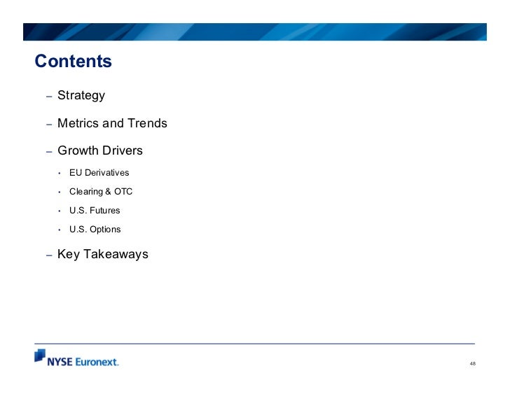Contents –   Strategy –   Metrics and Trends –   Growth Drivers     •   EU Derivatives     •   Clearing & OTC     •   U.S....