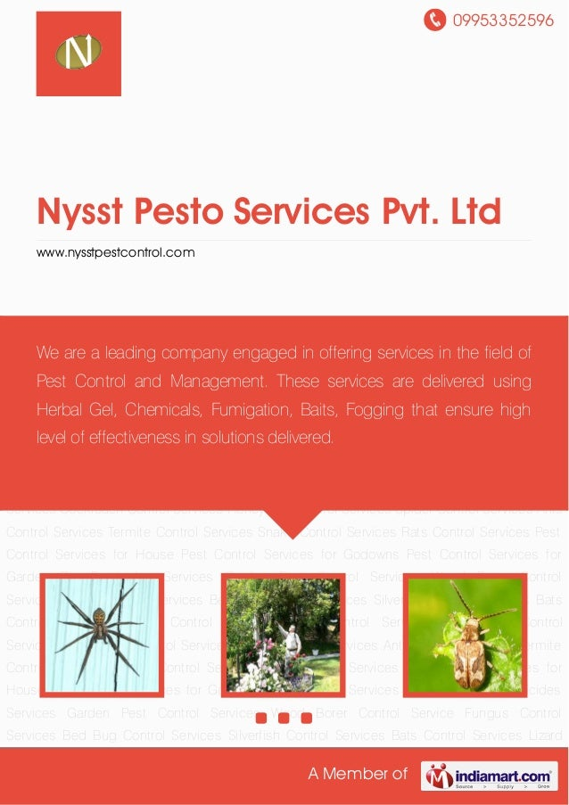 09953352596 A Member of Nysst Pesto Services Pvt. Ltd www.nysstpestcontrol.com Bio Pesticides Services Garden Pest Control...