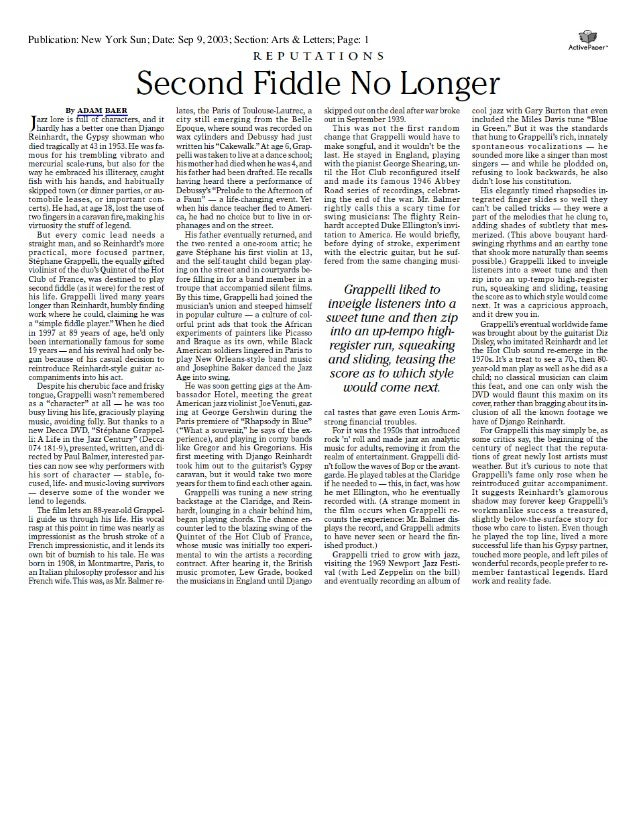 Publication: New York Sun; Date: Sep 9, 2003; Section: Arts & Letters; Page: 1