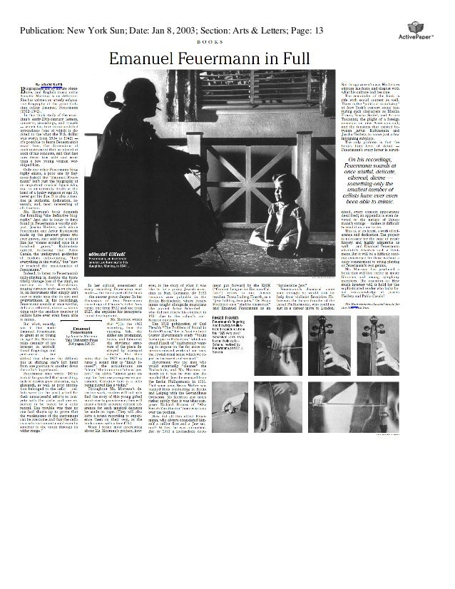 Publication: New York Sun; Date: Jan 8, 2003; Section: Arts & Letters; Page: 13