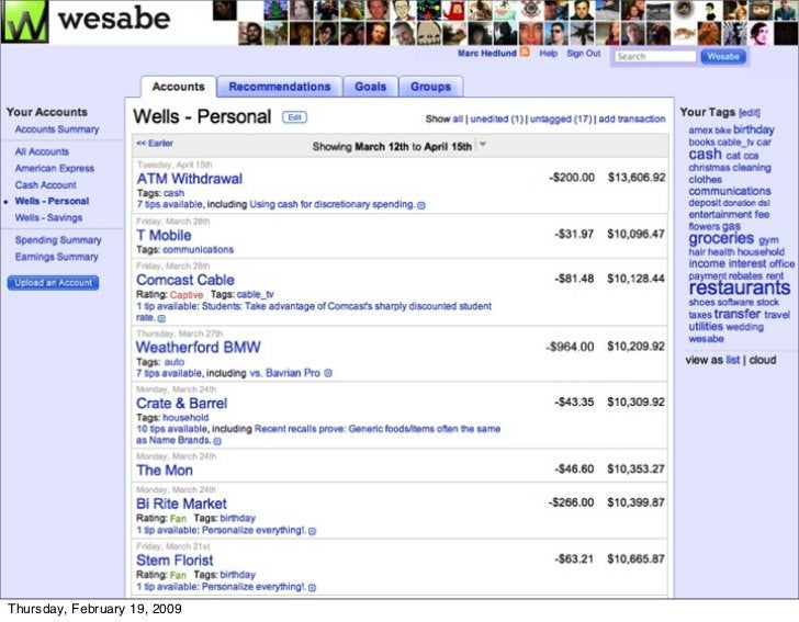 Wesabe does this with its tips     Thursday, February 19, 2009