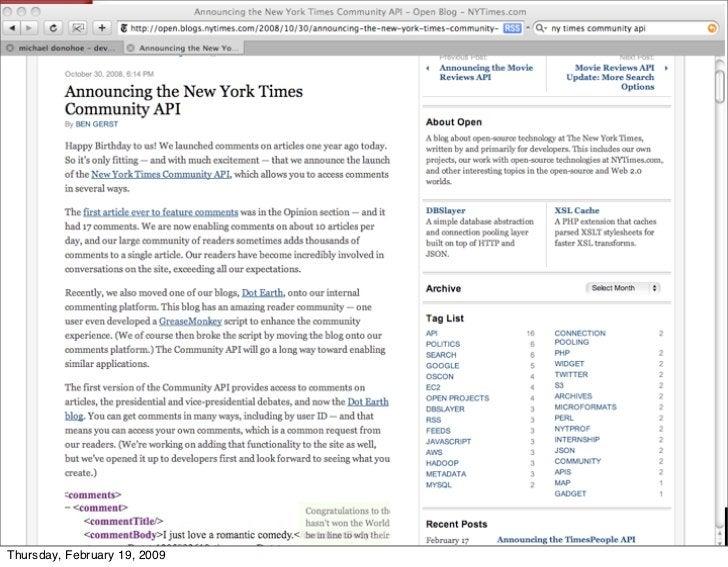 NY Times comment API     Thursday, February 19, 2009