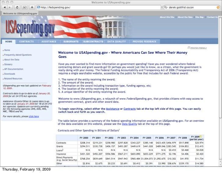 USAspending.gov        46 Thursday, February 19, 2009