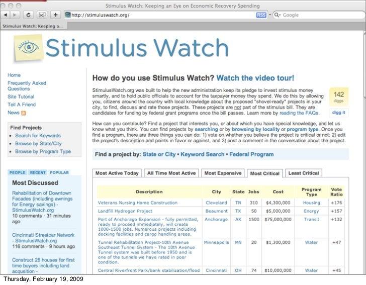 Stimuluswatch.org     Thursday, February 19, 2009