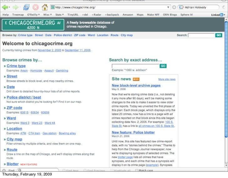 chicagocrime.org & database driven                      local news        52 Thursday, February 19, 2009