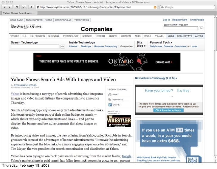 A NY Times web page that only links                      to itself     Thursday, February 19, 2009