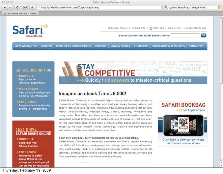 We screwed up too - Safari books                      online     Thursday, February 19, 2009